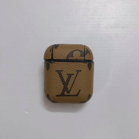 Light Brown Leather Louis Vuitton Case For AirPods 1/2