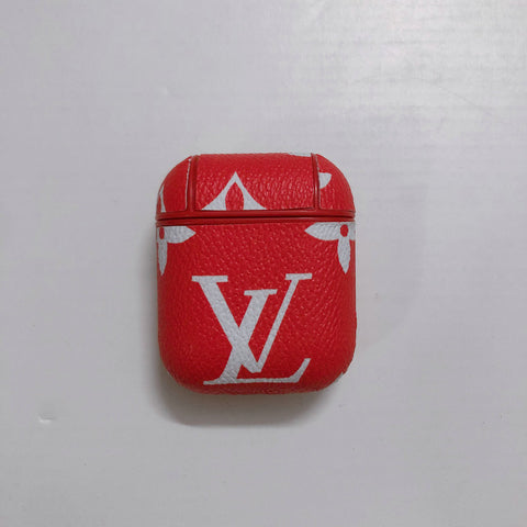 Red Leather Louis Vuitton Case For AirPods 1/2