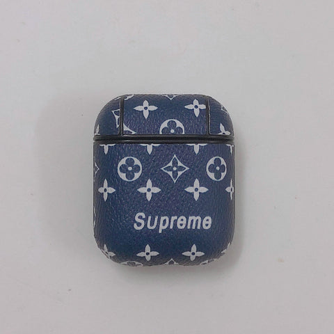 Blue Leather Supreme x Louis Vuitton Case For AirPods 1/2