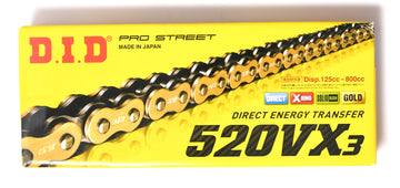 DID 520 VX3 Pro Street Heavy Duty Chain 112 Links - Gold