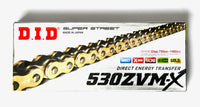 DID 530 ZVMX Super Street Extra Heavy Duty 118 Link Chain - Gold
