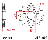 JT Steel Front Sprocket JTF1902.16