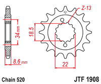 JT Counter Shaft Sprocket - JTF1908.15