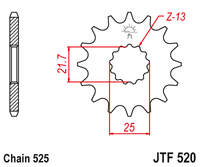 JT Steel Front Sprocket JTF520.16