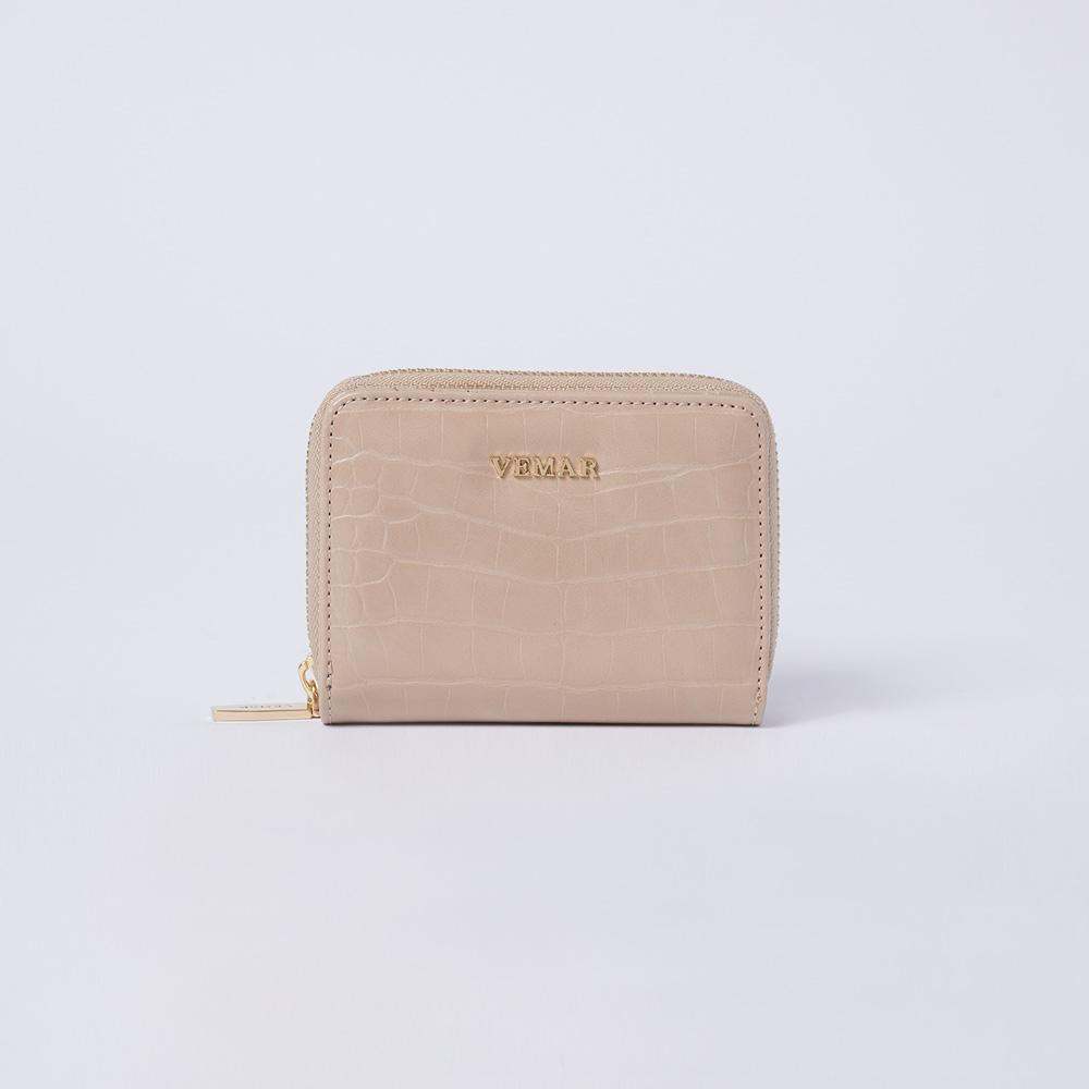 Camille - Croc-effect Leather Small Wallet - (Blanchedalmond) - VEMAR MALAYSIA I A beautiful you,from the inside out.