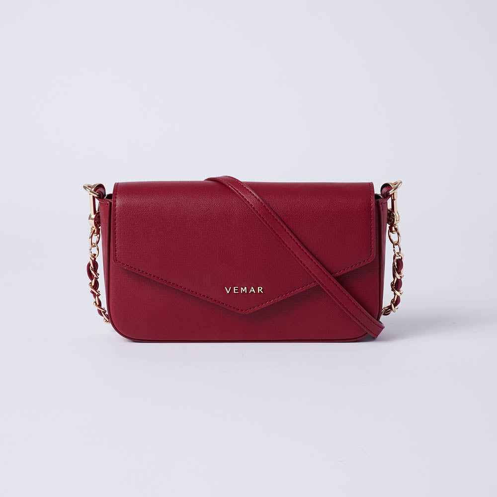 Anila - Vemar Elegant Crossbody Bag With Chain Strap (RED)