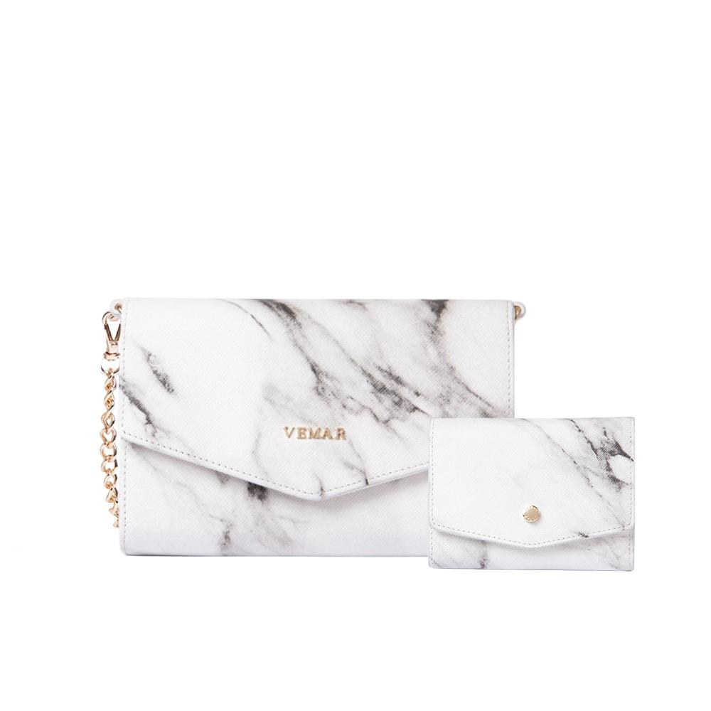 Vemar Marble Texture Shoulder Bag  + Vemar Marble Small Flap Wallet - VEMAR MALAYSIA I A beautiful you,from the inside out.