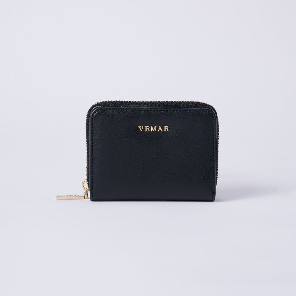 Vemar Fashion Leather Small Zip Wallet (BK)