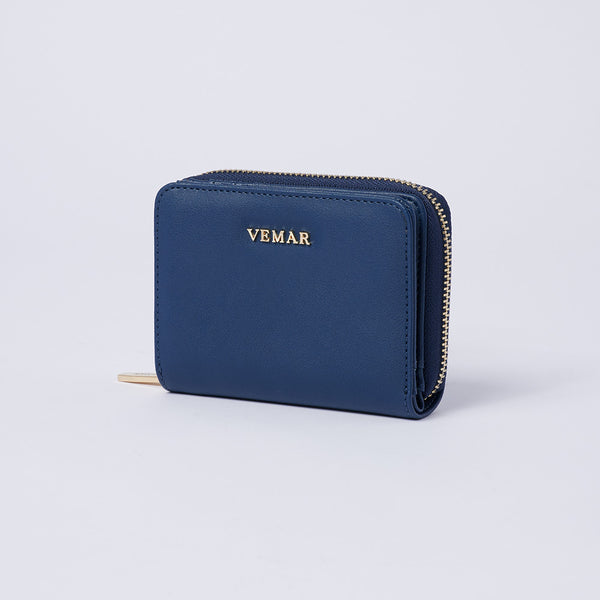 Vemar Fashion Leather Small Zip Wallet- (BL)