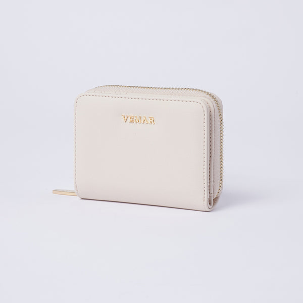 Vemar Fashion Leather Small Zip Wallet- (WH)