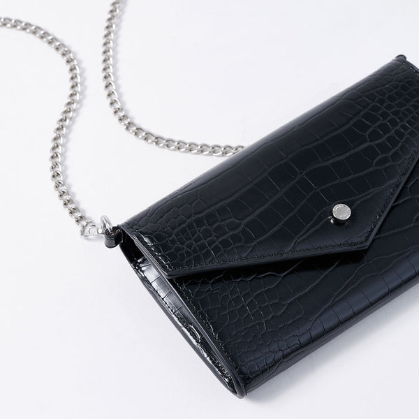 Claire -Vemar Crocodile Pattern Woc Bag (BK)