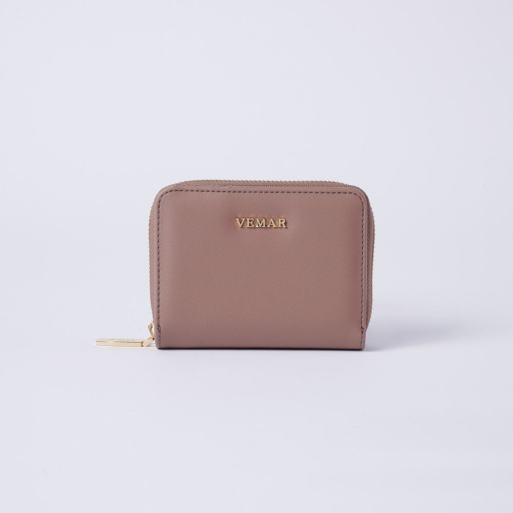Vemar Fashion Leather Small Zip Wallet- (BR)