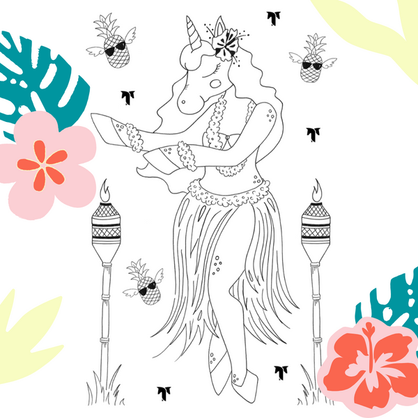 Free Download: TackHack HulaCorn Coloring Page