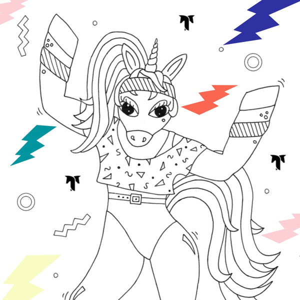 New Coloring Page:  80's Aerobicorn!