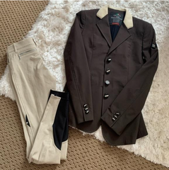 "The author's ""West Coast"" hunter ring look includes an Equiline hunt coat with blinged out buttons."