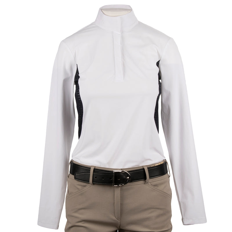 Cavalleria Toscana Women's Long Sleeve Polo with Perforated Insert