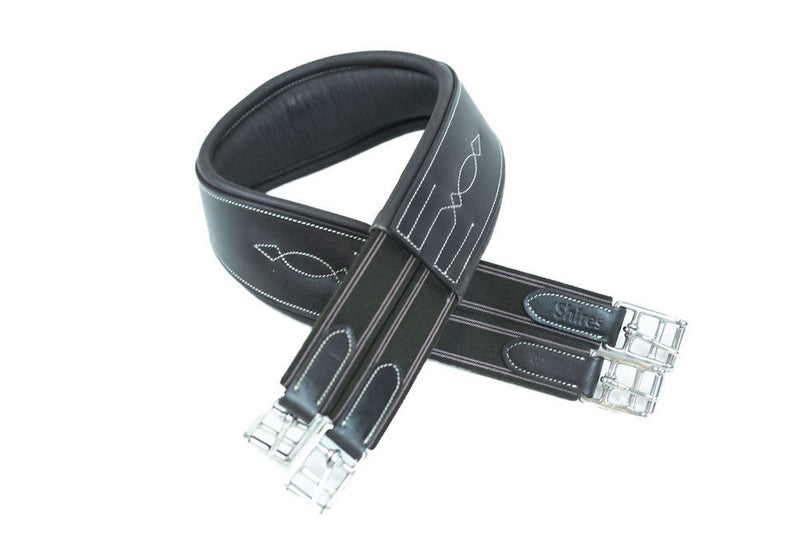 NEW Shires Fancy Double-Elastic Leather Girth