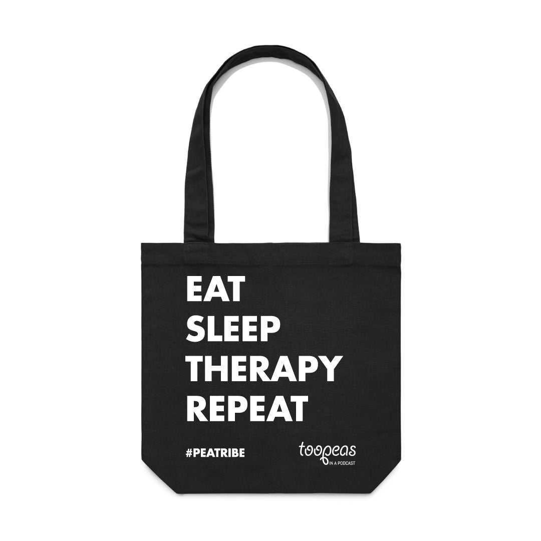 Too Peas Eat Sleep Therapy Repeat Tote Bag
