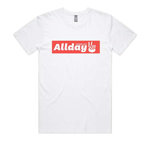 Allday - White Peace Sign Tee