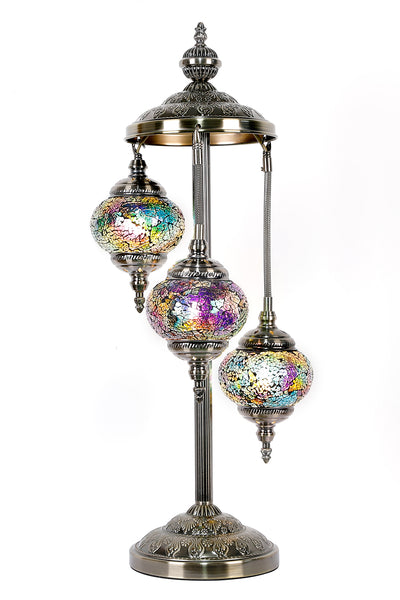 Turkish Mosaic Electric Lamp Three Tier Multi Coloured TL48