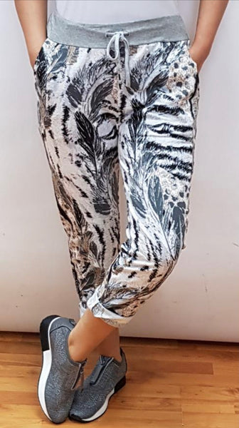Anne + Kate Animal & Feather Print Trouser 10-16