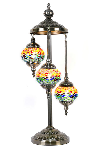 Turkish Mosaic Electric Lamp 3 Tier Multi-Coloured