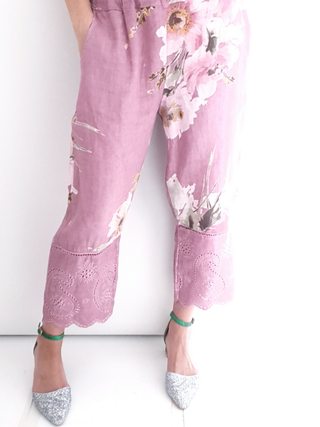 Helga May Berry Watercolour Lace Edge Linen Pant