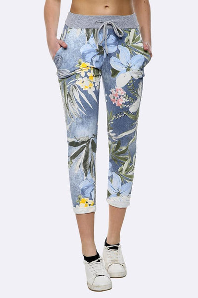 Anne + Kate Italian Tropical Floral Light Denim Print Trousers 14-18