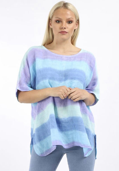 Anne + Kate Italian Multicoloured Striped Linen Baggy Top