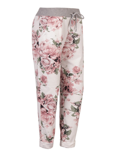 Anne + Kate Pink Rose White Print Trouser 16-20