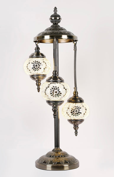 Turkish Mosaic Electric Lamp Three Tier White TL41