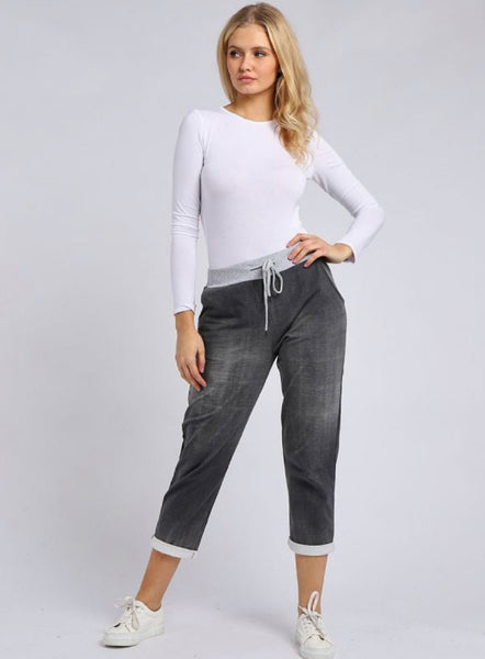 Anne + Kate Italian Plain Black Denim Trouser 10-14