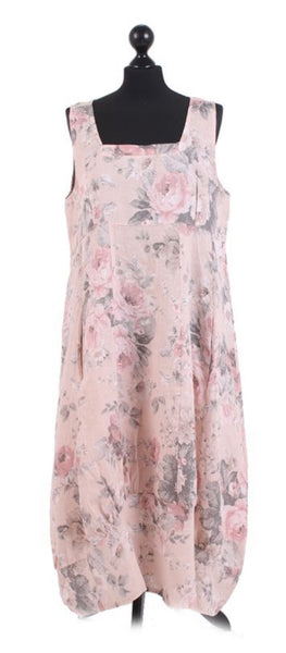 Anne + Kate Italian Linen Square Neck Floral Dress