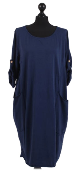 Anne + Kate Italian Button Up Sleeves Pocketed Cotton Dress