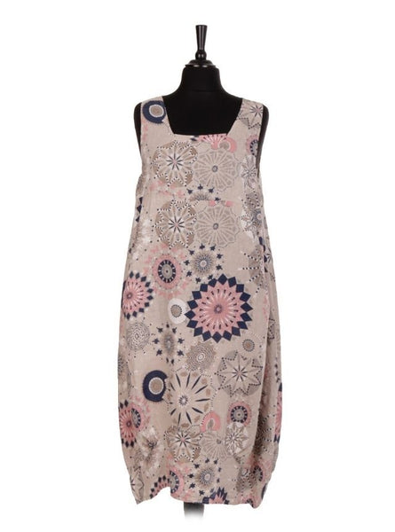 Anne + Kate Italian Linen Sleeveless Printed Dress