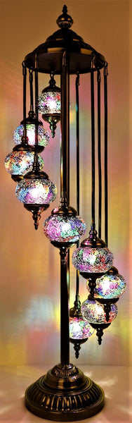 Turkish Mosaic Electric Lamp 9 Tier Multicoloured TL92
