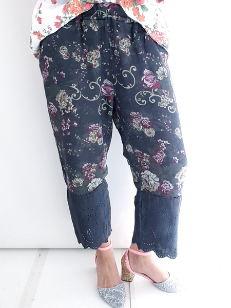 Helga May Charcoal Twirl Rose Lace Edge Linen Pant