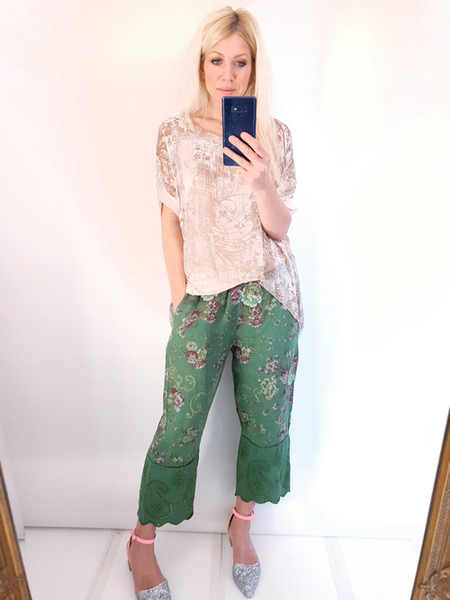 Helga May Green Twirl Rose Lace Edge Linen Pant
