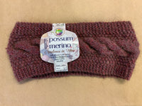 Hand knitted Possum Merino Cable Headband Shade PM14