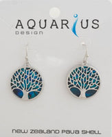 Tree of Life Dyed Paua Earring