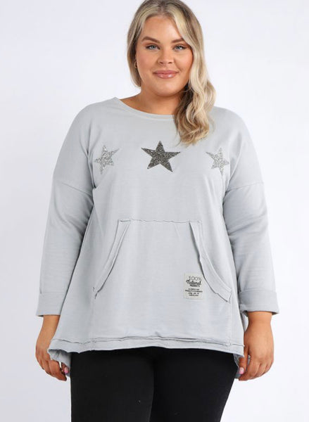 Anne + Kate Italian Tri Star Front Pockets Cotton Top
