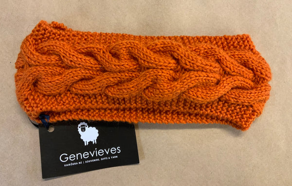 Hand Knitted Wool Cable Headband Shade 39 Burnt Orange