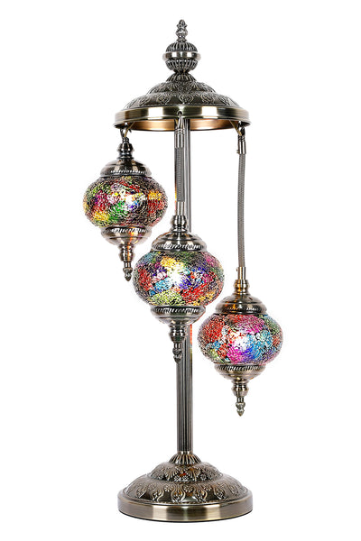Turkish Mosaic Electric Lamp Three Tier Multi Coloured TL40