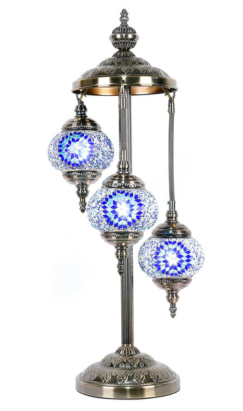 Turkish Mosaic Electric Lamp Three Tier Blue