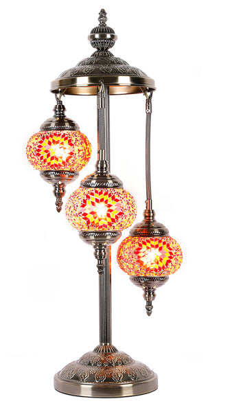Turkish Mosaic Electric Lamp Three Tier Orange