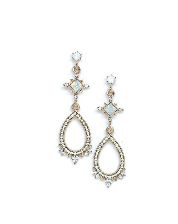 Cecille Drop Earrings - White