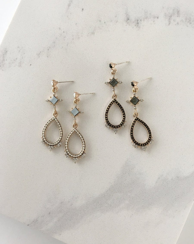 Cecille Drop Earrings - Black