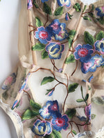 Salim Bodysuit Blue Flower Motif