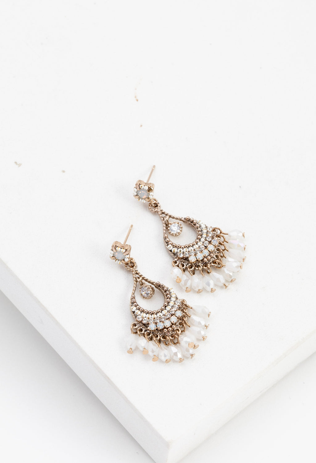 Coco Beaded Chandelier Earrings - White
