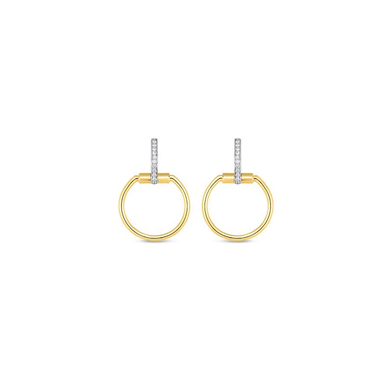 ROBERTO COIN CLASSICA PARISIENNE DIAMOND YELLOW & WHITE GOLD CIRCLE DROP EARRING ROBERTO COIN